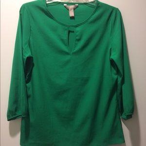 Green 3/4-sleeve blouse Banana Republic